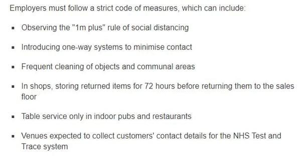 Employer rules for Coronavirus