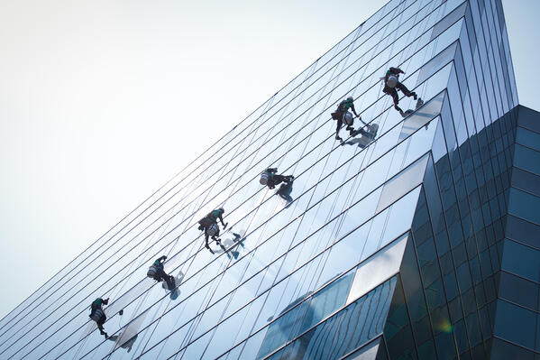 Rope access window cleaning team