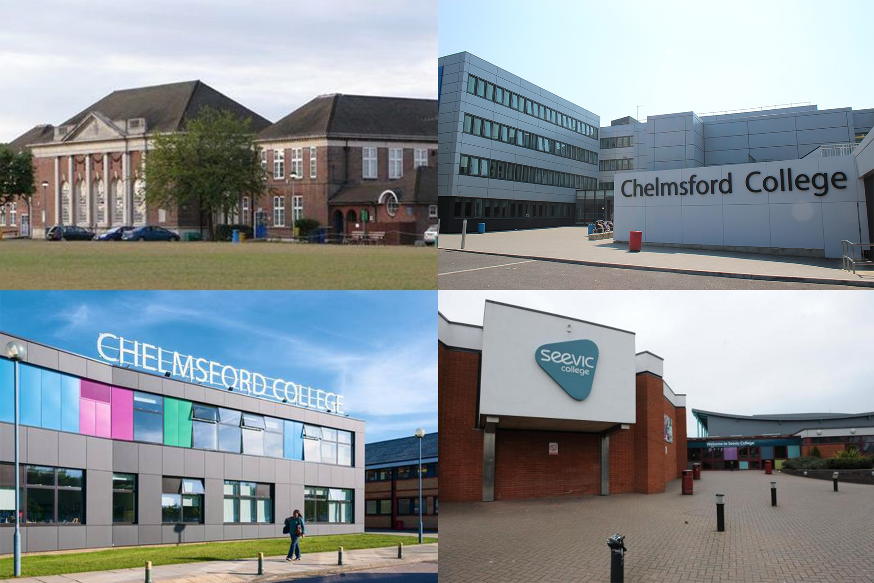 Chelmsford college in Moulsham Street, Chelmsford college in Princess road, Seevic college in Thundersley, Palmers college in Grays